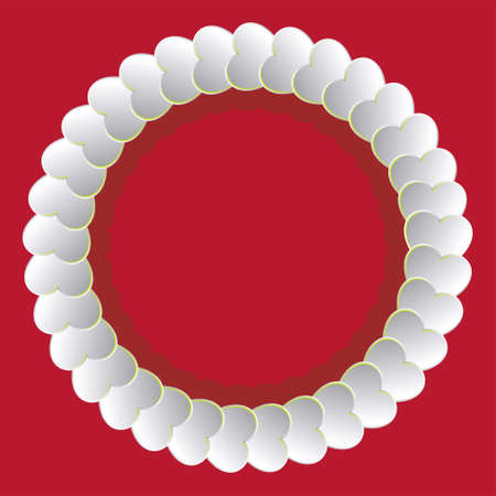 flirt: round frame made of hearts Illustration