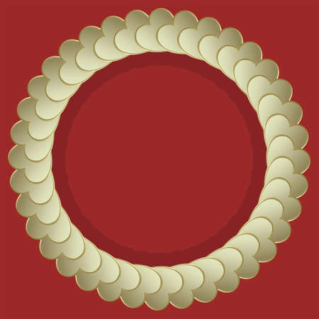 flirt: round frame made of hearts yellow