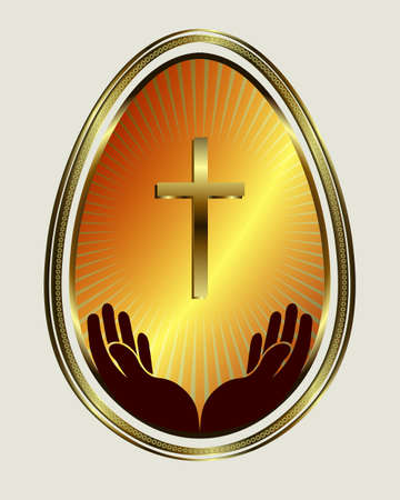 Easter egg with yellow gold trim Illustration