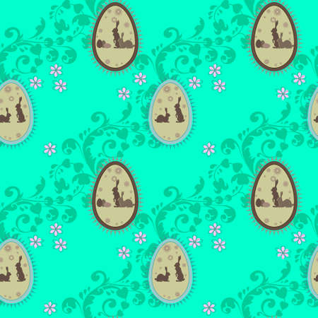 herbal seamless background of Easter bunnies inside eggs, with purple flowers and a pattern Illustration