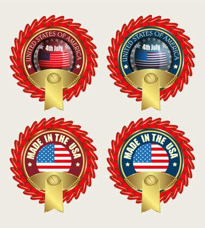 Ikone mit roten Bändern und US-Flagge Illustration