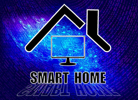 blue background, smart home