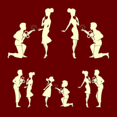 set of silhouettes of couples, men with a bouquet of flowers and a wedding ring, and girl