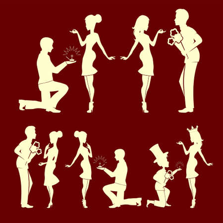 silhouettes of men and girls set Illustration