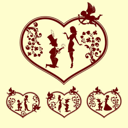 faithfulness: silhouettes of boy and girl with Cupid set