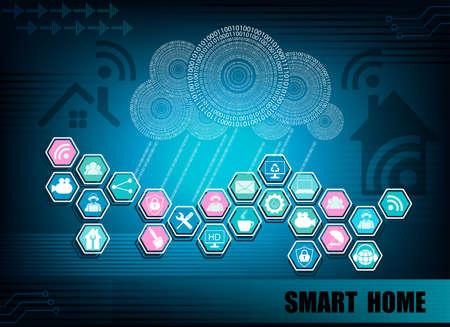 Dark blue background with a digital cloud silhouette, wireless Internet information network, Internet attributes,