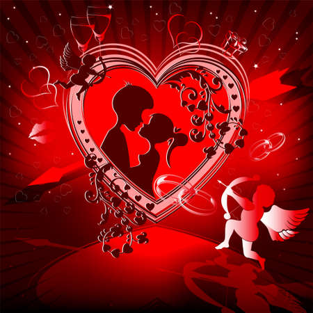 Red design with a heart 일러스트