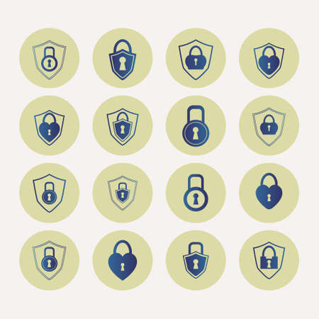 Set of blue locks in round frame