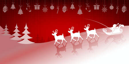 christmas tree illustration: Christmas red background with Santa Claus on deer