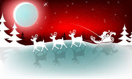 Christmas red background with a bright moon and Santa Claus in a cart rides in a harness on deer