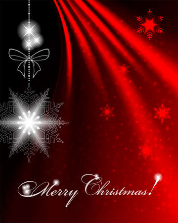 Christmas dark red background with snowflake and text