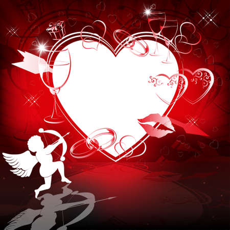 Red background with heart, arrow and cupid.