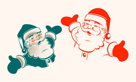 Illustration of Santa claus, set