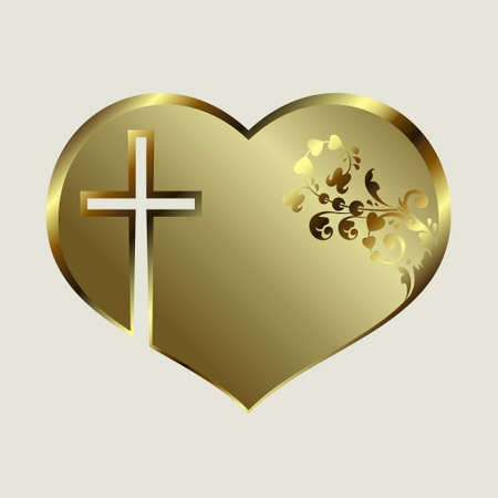 Silhouette of a heart design with a golden tint with a cross and ornament