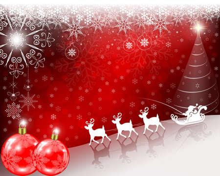 Navidad roja, fondo brillante con Santa Claus montando lentamente en ciervos. Foto de archivo - 86735915