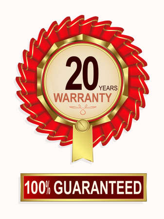 Emblem of red color, gold ribbon and text of twenty-year guarantee.