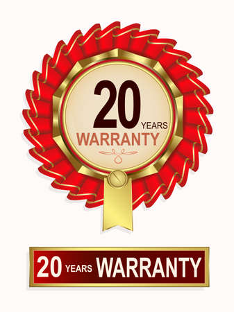Emblem of red color, gold ribbon and text of twenty-year guarantee Illustration