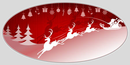 Red Christmas with Santa Claus rides a sleigh design template. Illustration
