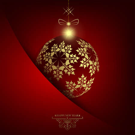Christmas red design with ball with golden snowflakes. Illustration