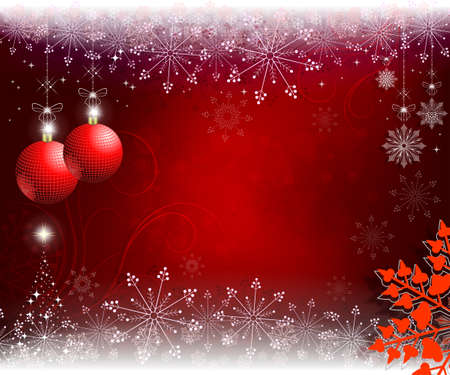 red, beige christmas background with red balls and graceful snowflakes