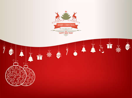 Christmas with red and white balls in retro style and suspended symbols of Christmas holidays. Çizim