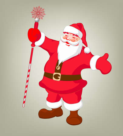 scepter: Drawing of Santa Claus holding long, red scepter in cartoon illustration.