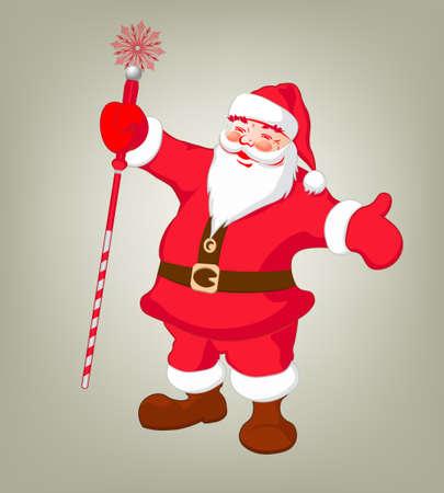 Tekening van de Kerstman die lange, rode scepter in beeldverhaalillustratie houden. Stock Illustratie