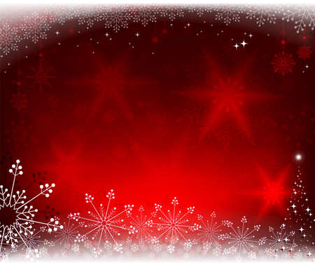 christmas red background with fir tree Illustration