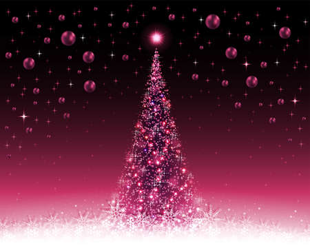 Violet Christmas, crimson background with tree and balls