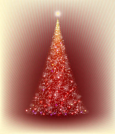 christmas red tree on a beige background with rays