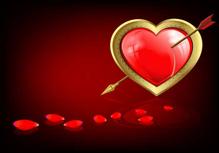 Design with a red heart with an arrow