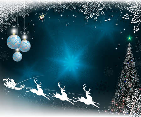 Christmas blue background with snowflakes, christmas tree and balls and santa claus rushes on reindeer