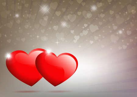 ベージュ、光線と輝きを持つ2つの赤い心と光の背景