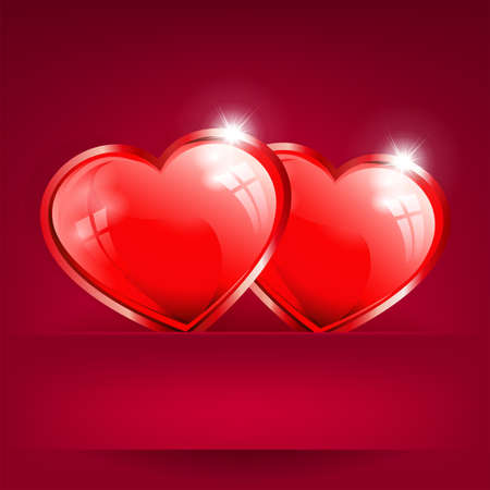 red background with two hearts