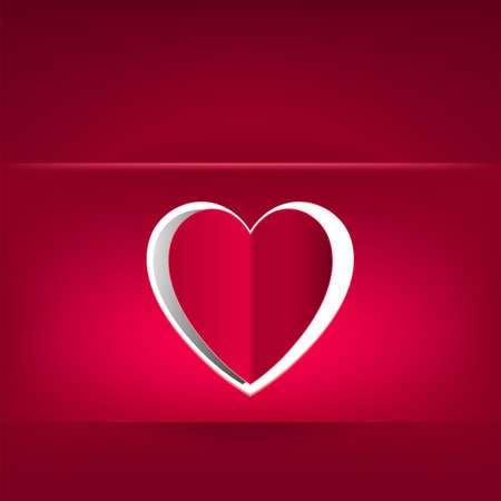 Red design with a heart cut from paper