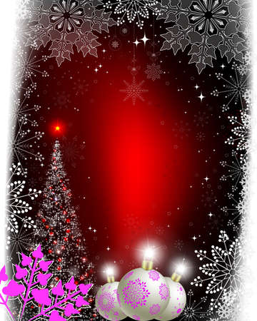 Christmas red background with Christmas tree and balls with purple snowflakes