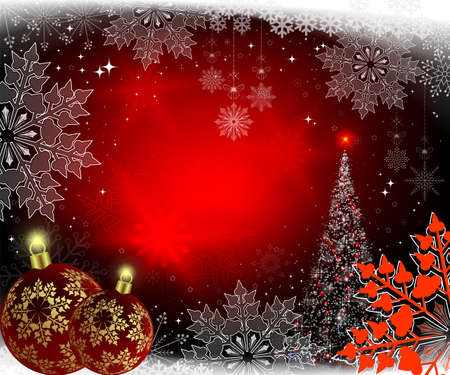 Christmas red background with Christmas tree and balls with golden snowflakes