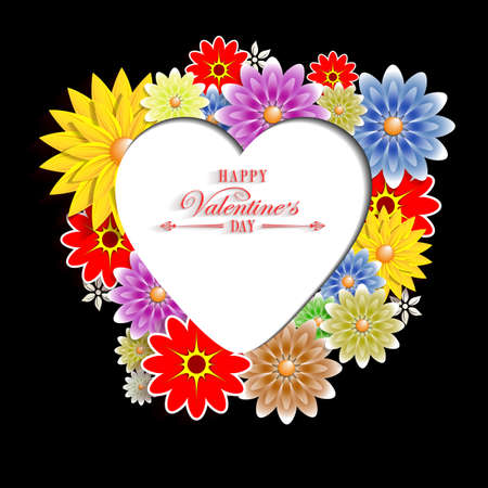 Black background with flowers and silhouette of the heart with text Vectores