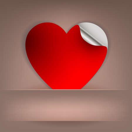 ●ポケットイラストに赤いハートを入れたベージュのデザイン。