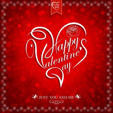 ●ハッピーバレンタインデーのテキストを使用した赤いデザイン、ポストカードイラスト。