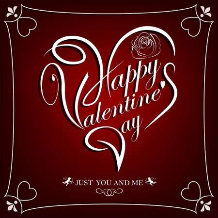 幸せなバレンタインデー、はがきのテキストと暗い赤のデザイン