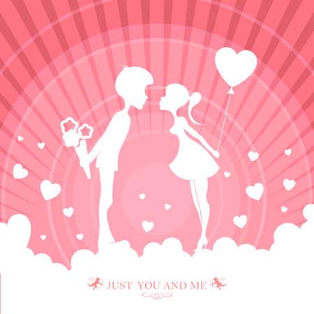 花を持つ男と風船を持つ女の子のシルエットとピンク色のデザイン  イラスト・ベクター素材