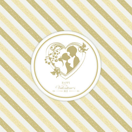 Card with golden stripes with silhouettes of hearts with cupid, boy and girl 일러스트