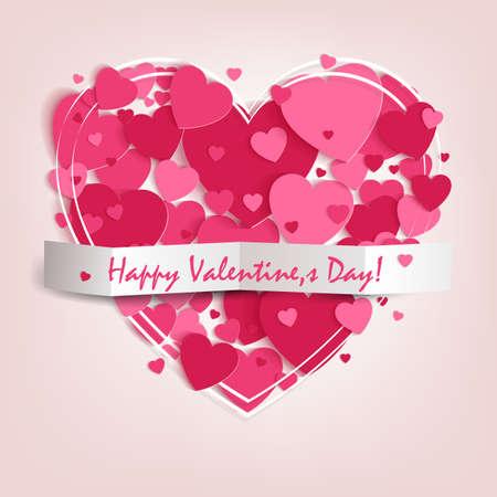 ピンクのハートと幸せなバレンタインデーのテキストのシルエットでデザイン。  イラスト・ベクター素材