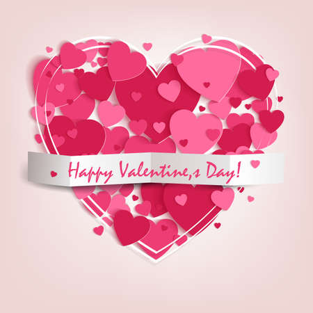 핑크 하트와 해피 발렌타인 데이의 텍스트 실루엣으로 디자인하십시오. 일러스트