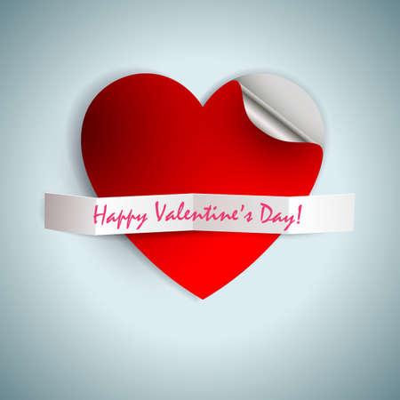 曲がったエッジと幸せなバレンタインデーのテキストと心のシルエットでデザイン