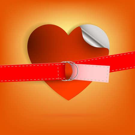 오렌지 배경 붉은 마음 및 스트랩.