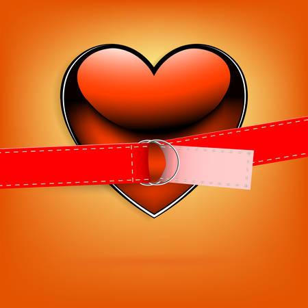 Fondo naranja con un corazón rojo con una correa Foto de archivo - 93017060