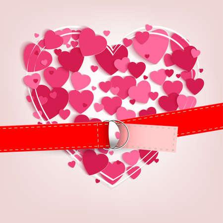 Fondo claro con un conjunto de corazones rosados ? ? y con una correa Foto de archivo - 93045587