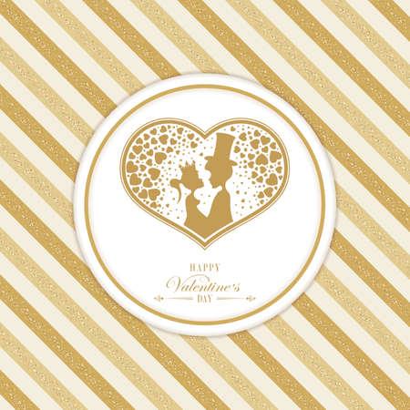 gestreept oker, goudkleurig ontwerp met een silhouet van het hart
